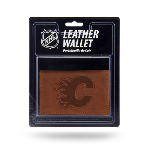Calgary Flames Brown Leather Trifold Wallet