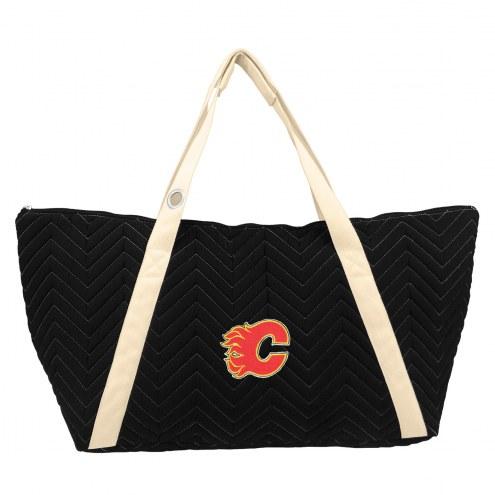 Calgary Flames Chevron Stitch Weekender Bag