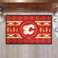 Calgary Flames Christmas Sweater Starter Rug