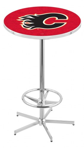 Calgary Flames Chrome Bar Table with Foot Ring