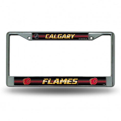 Calgary Flames Chrome Glitter License Plate Frame