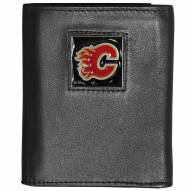 Calgary Flames Deluxe Leather Tri-fold Wallet in Gift Box