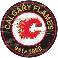 Calgary Flames Distressed Round Sign