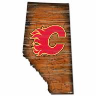 Calgary Flames Distressed State with Logo Sign