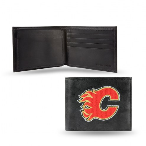 Calgary Flames Embroidered Leather Billfold Wallet