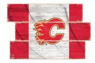 Calgary Flames  Flag 3 Plank Sign
