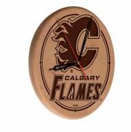 Calgary Flames Laser Engraved Wood Clock