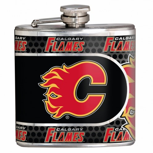 Calgary Flames Hi-Def Stainless Steel Flask