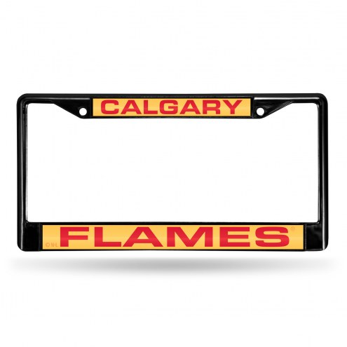 Calgary Flames Laser Black License Plate Frame