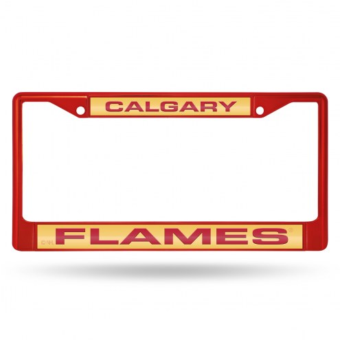Calgary Flames Laser Colored Chrome License Plate Frame
