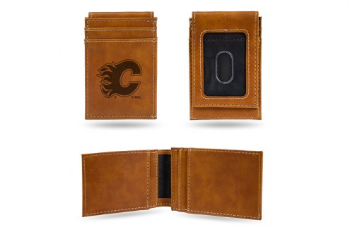 Calgary Flames Laser Engraved Brown Front Pocket Wallet
