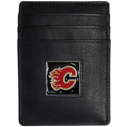 Calgary Flames Leather Money Clip/Cardholder in Gift Box