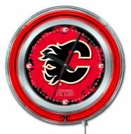 Calgary Flames Neon Clock