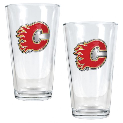 Calgary Flames NHL Pint Glass - Set of 2