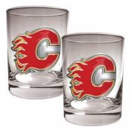 Calgary Flames NHL Rocks Glass - Set of 2