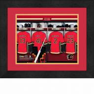 Calgary Flames Personalized Locker Room 13 x 16 Framed Photograph