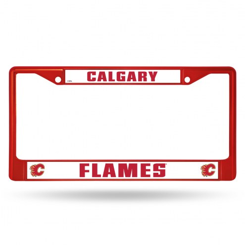 Calgary Flames Red Colored Chrome License Plate Frame