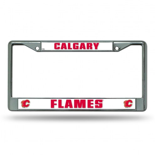 Calgary Flames Chrome License Plate Frame