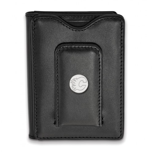 Calgary Flames Sterling Silver Black Leather Wallet