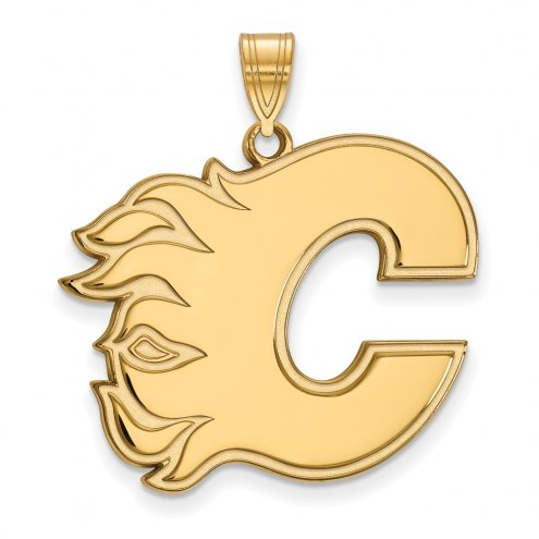 Calgary Flames Sterling Silver Gold Plated Extra Large Pendant