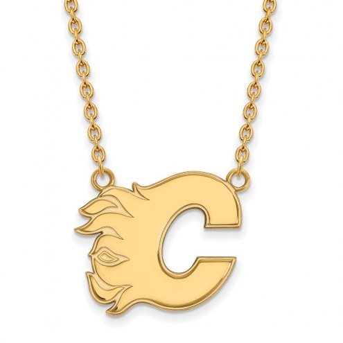 Calgary Flames Sterling Silver Gold Plated Large Pendant Necklace