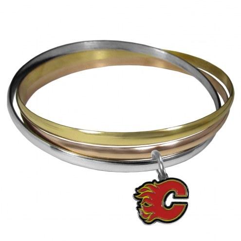 Calgary Flames Tri-color Bangle Bracelet