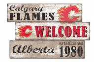 Calgary Flames  Welcome 3 Plank Sign