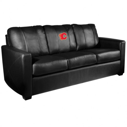Calgary Flames XZipit Silver Sofa with Red Logo