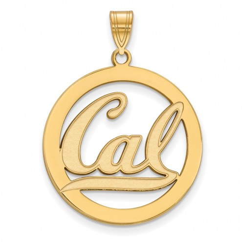 California Golden Bears Sterling Silver Gold Plated Large Circle Pendant