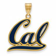 California Golden Bears Sterling Silver Gold Plated Large Enameled Pendant