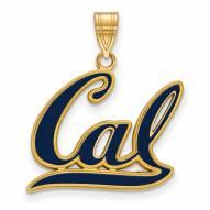 California Golden Bears Sterling Silver Gold Plated Large Enameled Pendant