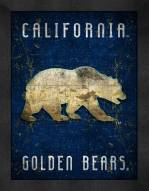 California Golden Bears Retro Logo Map Framed Print