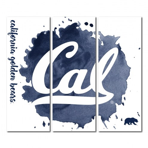 California Golden Bears Triptych Watercolor Canvas Wall Art