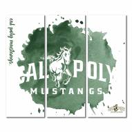 California Polytechnic State Mustangs Triptych Watercolor Canvas Wall Art