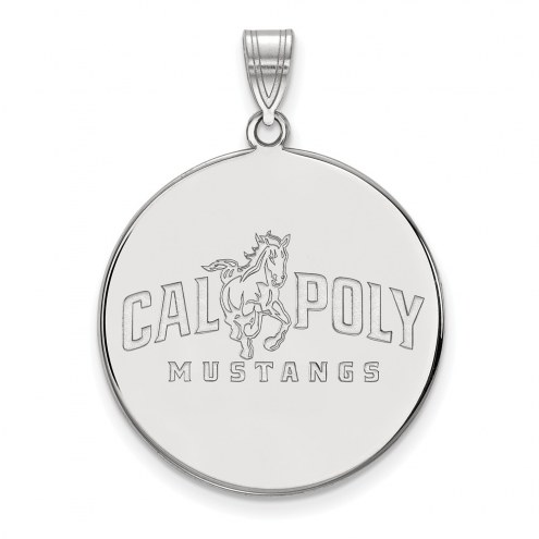 California Polytechnic State Mustangs Sterling Silver Extra Large Disc Pendant