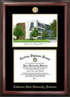 California State Fullerton Titans Gold Embossed Diploma Frame with Campus Images Lithograph