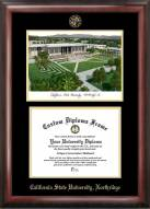 California State Northridge Matadors Gold Embossed Diploma Frame with Campus Images Lithograph