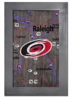 "Carolina Hurricanes 11"" x 19"" City Map Framed Sign"