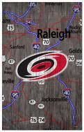 "Carolina Hurricanes 11"" x 19"" City Map Sign"