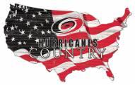 "Carolina Hurricanes  15"" USA Flag Cutout Sign"