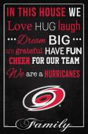 """Carolina Hurricanes  17"""" x 26"""" In This House Sign"""