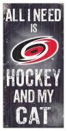 """Carolina Hurricanes  6"""" x 12"""" Hockey & My Cat Sign"""