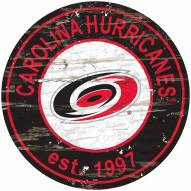 Carolina Hurricanes Distressed Round Sign