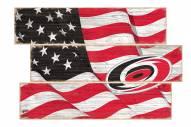 Carolina Hurricanes  Flag 3 Plank Sign