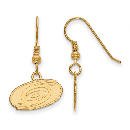 Carolina Hurricanes Sterling Silver Gold Plated Extra Small Wire Dangle Earrings