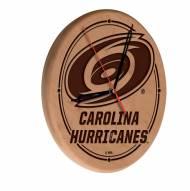 Carolina Hurricanes Laser Engraved Wood Clock