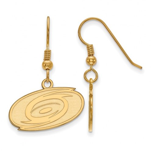 Carolina Hurricanes Sterling Silver Gold Plated Small Dangle Earrings