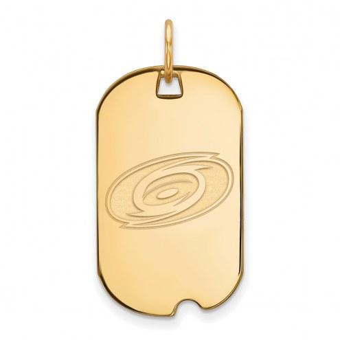 Carolina Hurricanes Sterling Silver Gold Plated Small Dog Tag