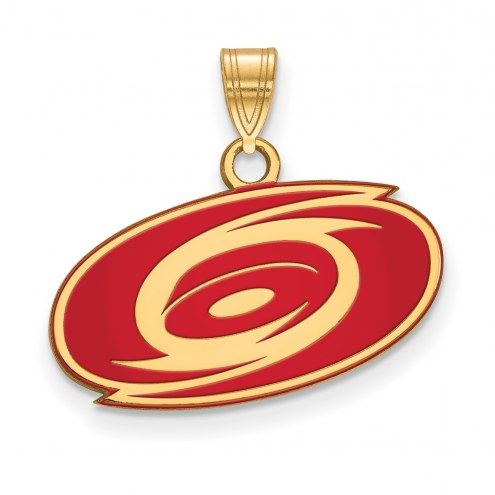 Carolina Hurricanes Sterling Silver Gold Plated Small Enameled Pendant