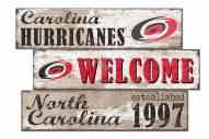 Carolina Hurricanes  Welcome 3 Plank Sign